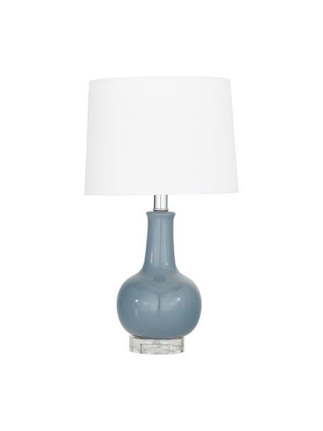 Keramische tafellamp Brittany, Lampenkap: textiel, Lampvoet: keramiek, Voetstuk: kristalglas, Wit, grijs, Ø 28 x H 48 cm