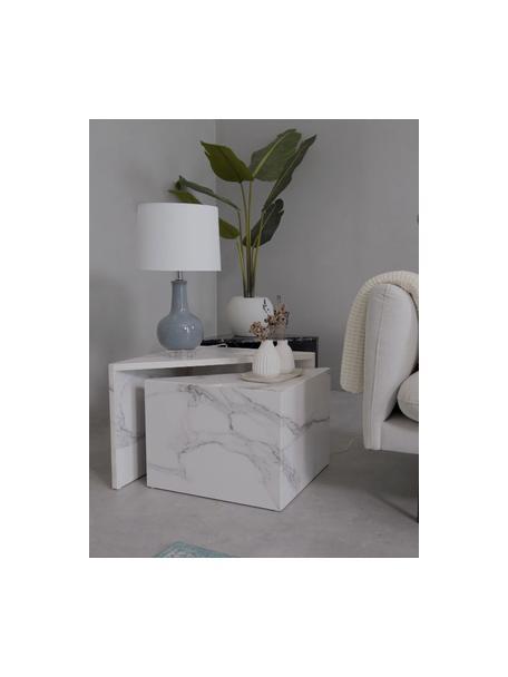 Keramik-Tischlampe Brittany in Grau, Lampenschirm: Textil, Lampenfuß: Keramik, Sockel: Kristallglas, Weiß, Grau, Ø 28 x H 48 cm