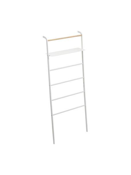 Metalen ladderrek Lena in wit, Frame: gepoedercoat metaal, Stang: hout, Wit, 66 x 160 cm