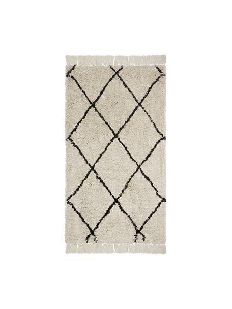 Pluizig hoogpolig vloerkleed Naima met franjes, handgetuft, Bovenzijde: polyester, Onderzijde: katoen, Beige, zwart, B 80 x L 150 cm (maat XS)