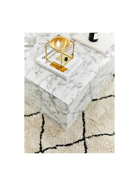 Flauschiger Hochflor-Teppich Naima mit Fransen, handgetuftet, Flor: 100% Polyester, Beige, Schwarz, B 80 x L 150 cm (Grösse XS)