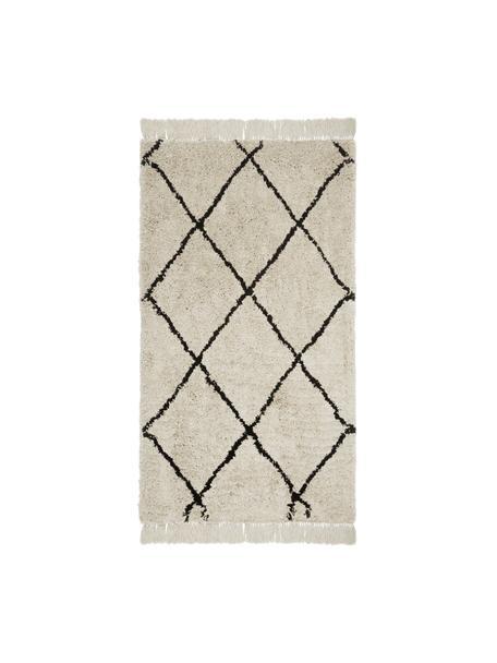Zacht hoogpolig vloerkleed Naima met franjes, handgetuft, Bovenzijde: polyester, Onderzijde: katoen, Beige, zwart, B 80 x L 150 cm (maat XS)