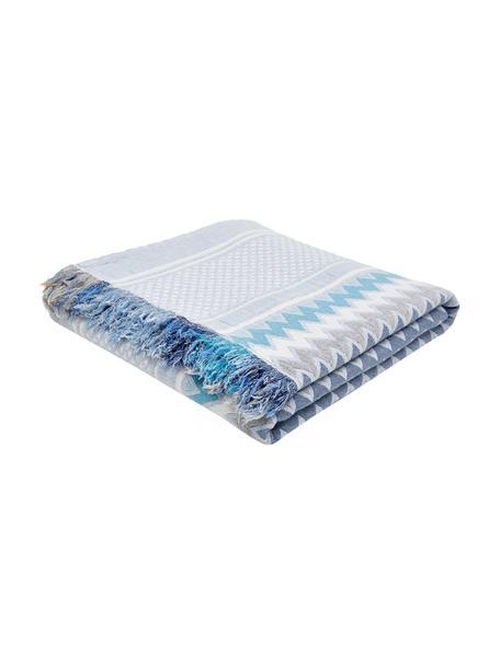 Bedsprei met patroon Oglio, 100% katoen, Blauw, B 180 x L 235 cm (voor bedden tot 140 x 200)