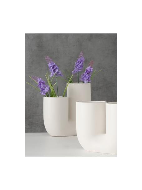 Set 2 vasi moderni in gres Filicio, Gres, Bianco, Larg. 17 x Alt. 17 cm