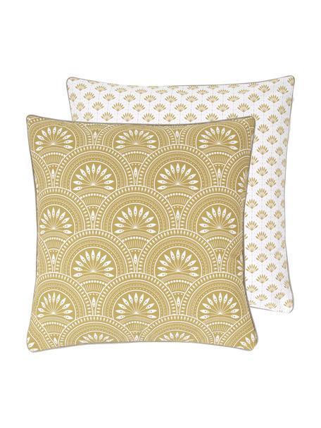 Dwustronna poszewka na poduszkę z bawełny organicznej Tiara, 100% bawełna organiczna, certyfikat GOTS, Żółty, biały, S 45 x D 45 cm