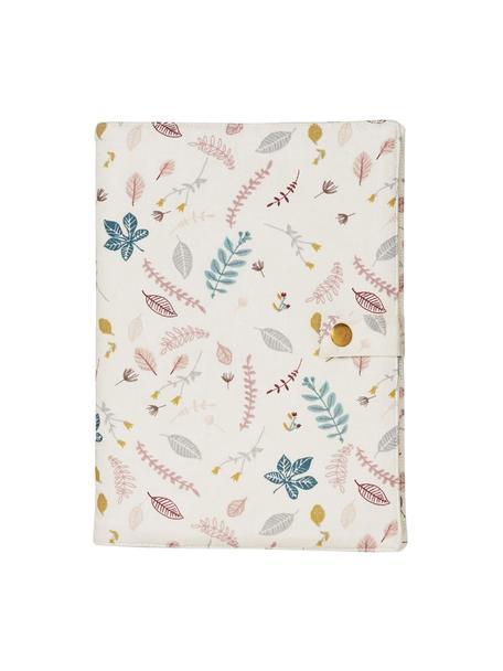 Funda para agenda de algodón ecológico Pressed Leaves, 100%algodón ecológico Certificado OCS, Rosa, multicolor, An 15 x Al 21 cm