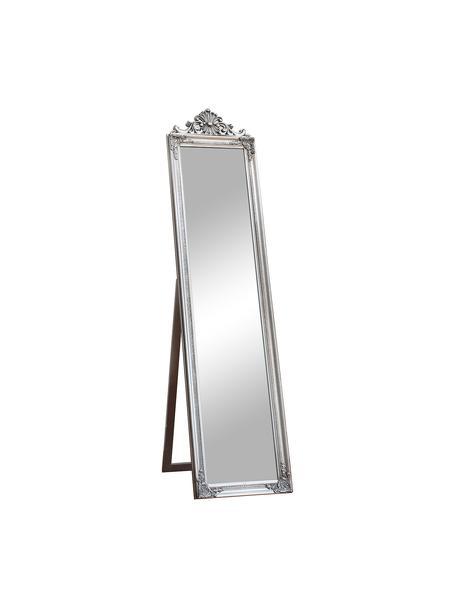 Vierkante staande spiegel Lambeth met een zilveren kunststof frame, Lijst: polyresin, Zilverkleurig, 46 x 79 cm