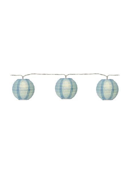 LED-Lichterkette Festival, 435 cm, 10 Lampions, Lampions: Papier, Blau, L 435 cm