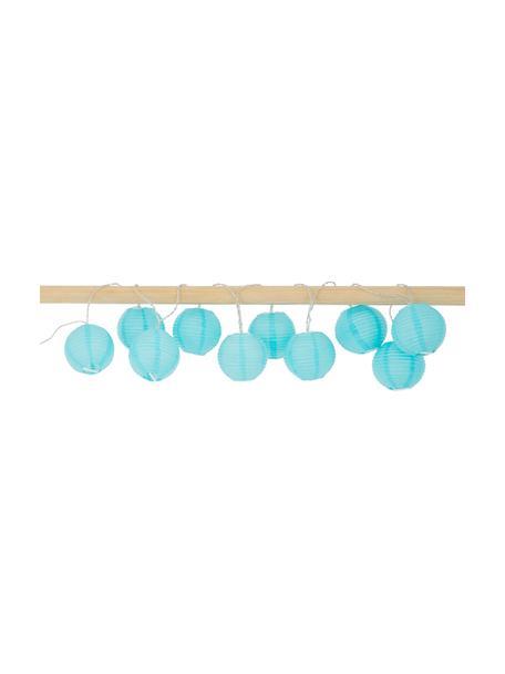 Guirnalda de luces LED Festival, 435cm, 10 luces, Linternas: papel, Cable: plástico, Azul, L 300 cm