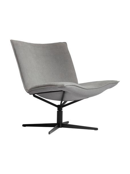 Fotel wypoczynkowy z aksamitu Mac B, obrotowy, Tapicerka: 100% poliester, Noga: stal malowana proszkowo, Jasny szary, czarny, S 72 x G 74 cm