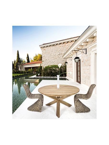 Stół do jadalni z litego drewna Rift, Drewno tekowe, pochodzące z recyklingu Posiada certyfikat FSC, Drewno tekowe z recyklingu, Ø 135 x W 76 cm