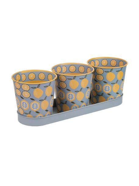 Set de macetero Gudre, 4pzas., Metal galvanizado y recubierto, Multicolor, Set de diferentes tamaños