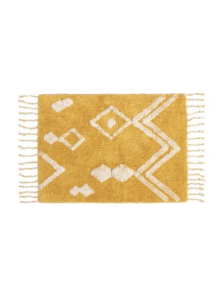 Dywanik łazienkowy z chwostami w stylu boho Fauve, 100% bawełna, Żółty, biały, S 50 x D 70 cm
