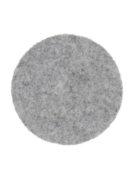 Posavasos de fieltro Leandra, 6uds., 90%lana, 10%polietileno, Gris claro, Ø 10 cm