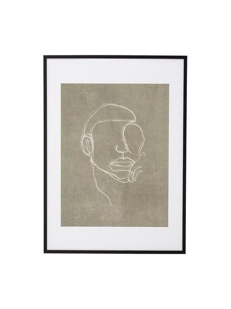 Oprawiony druk cyfrowy Espen, Czarny, greige, biały, S 52 x W 72 cm