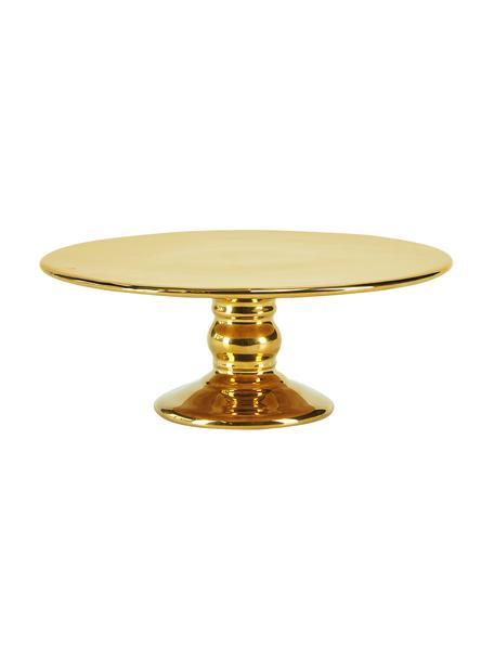 Keramische taartplateau Tarta, Ø 26 cm, Keramiek, Glanzend goudkleurig, Ø 26 x H 10 cm