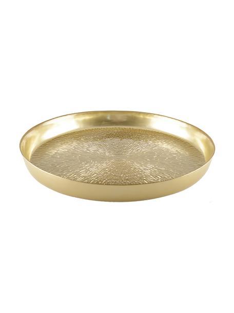 Dienblad Aladora in goudkleur met elegant patroon, Ø 35 cm, Glas, Goudkleurig, Ø 35 cm