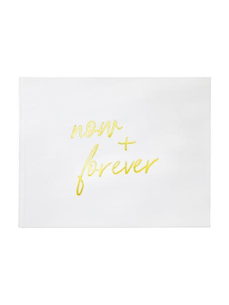 Gastenboek Now&Forever, Crèmewit, goudkleurig, 28 x 33 cm