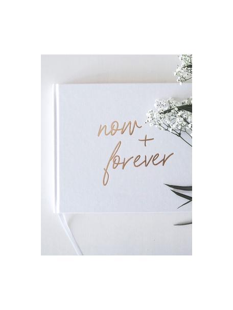 Libro de visitas Now&Forever, Blanco crema, dorado, An 28 x Al 22 cm