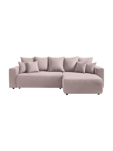 Sofá cama rinconero modular Elvi, con espacio de almacenamiento, Tapizado: poliéster, Patas: plástico, Rosa, An 282 x F 153 cm