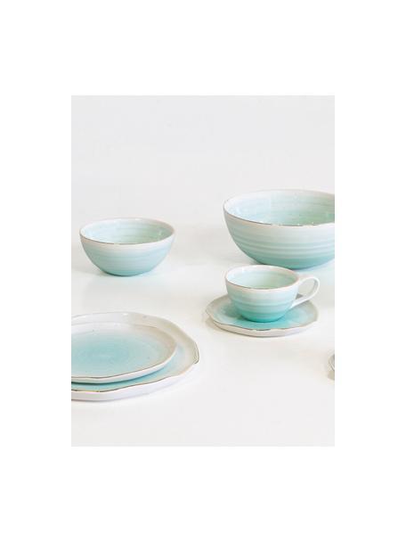 Cuencos artesanales Bella, 2uds., Porcelana, Azul turquesa, Ø 10 x Al 6 cm