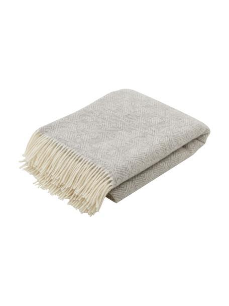 Wollen plaid Tirol-Viktor in lichtgrijs met franjes en grafisch patroon, 100% wol, Lichtgrijs, wit, 140 x 200 cm