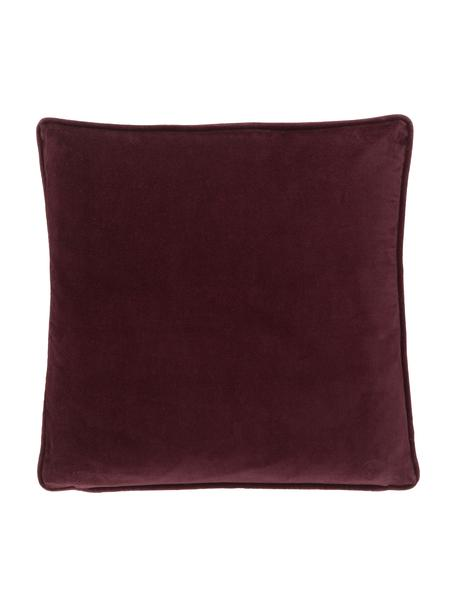 Poszewka na poduszkę z aksamitu Dana, 100% aksamit bawełniany, Burgundowy, S 40 x D 40 cm