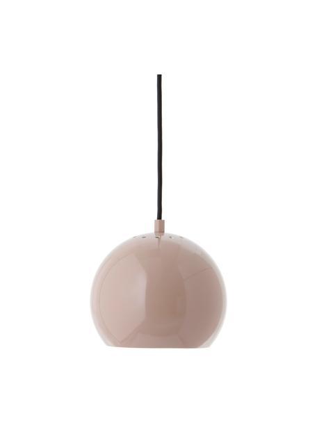 Kleine Kugel-Pendelleuchte Ball in Nudefarben, Lampenschirm: Metall, beschichtet, Baldachin: Metall, beschichtet, Nudefarben, Schwarz, Weiß, Ø 18 x H 16 cm