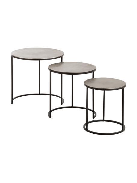 Set de mesas auxiliares Scott, 3uds., Tablero: aluminio, recubierto, Estructura: metal, pintado, Aluminio, negro, Set de diferentes tamaños