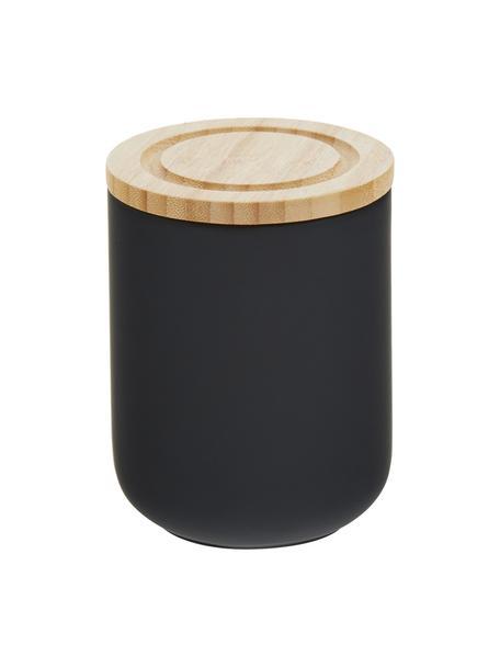 Opbergpot Stak, Pot: keramiek, Deksel: bamboehout, Zwart, bamboehoutkleurig, Ø 10 x H 13 cm