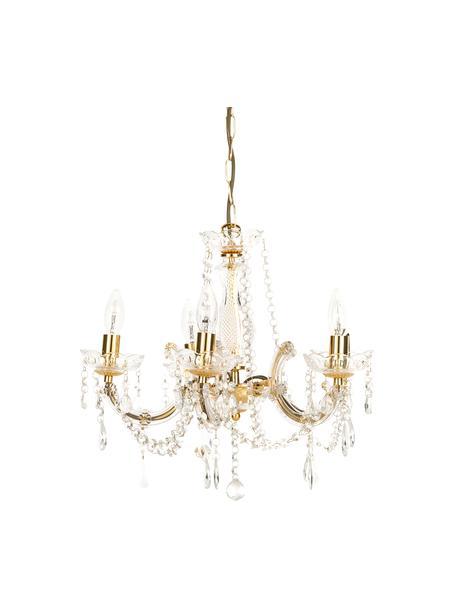 Lámpara de araña Marie Therese, Estructura: acrílico, metal, Casquillo: metal, Anclaje: metal, Dorado, transparente, Ø 48 x Al 42 cm