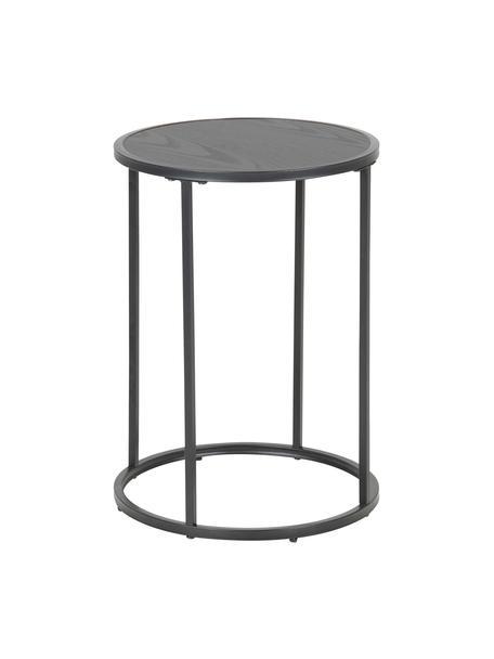 Tavolino d'appoggio in legno e metallo Seaford, Piano d'appoggio: pannelli di fibra a media, Gambe: metallo verniciato a polv, Nero, Ø 40 x Alt. 55 cm