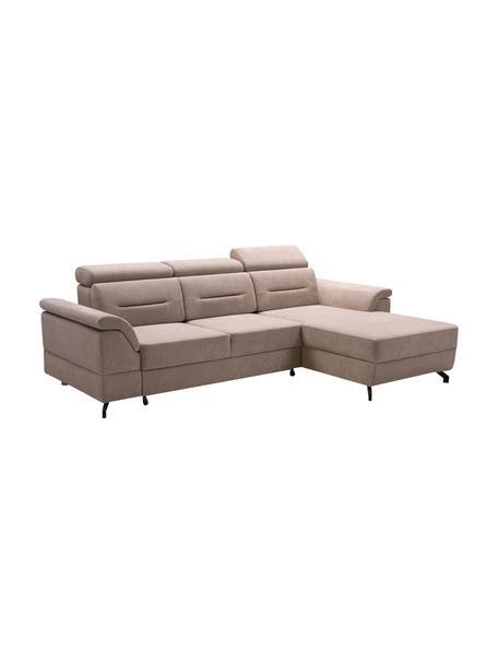 Sofá cama rinconero Missouri, con espacio de almacenamiento, Tapizado: 100%poliéster, Beige, An 259 x F 164 cm