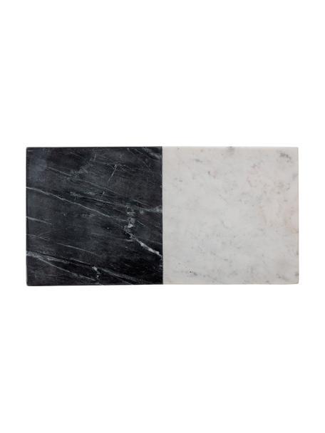 Marmor-Schneidebrett Elvia, L 46 x B 23 cm, Marmor, Schwarz, Weiß, 23 x 46 cm