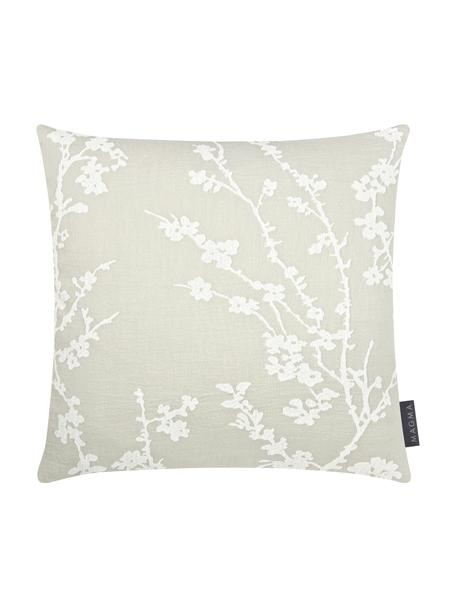 Federa arredo con motivo floreale Jasmin, Retro: 100% velluto di poliester, Verde menta, bianco, Larg. 40 x Lung. 40 cm