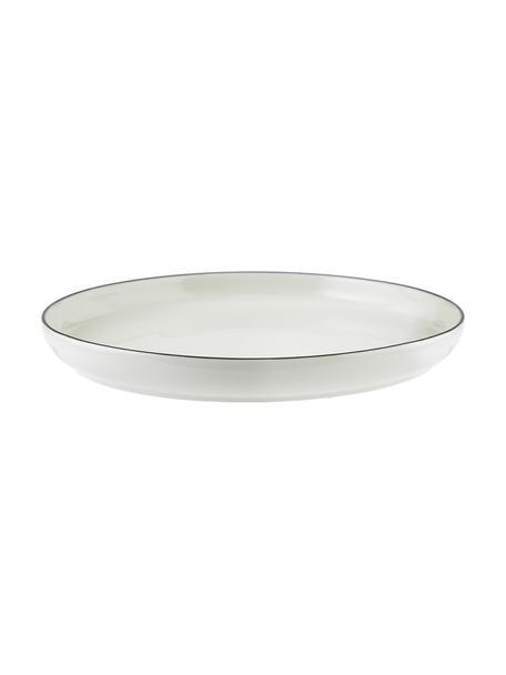 Platos llanos de porcelana Facile, 2uds., Porcelana, Blanco crema, negro, Ø 25 x Al 3 cm