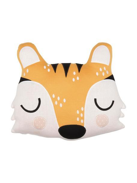 Poduszka do przytulania z bawełny organicznej Tiger Theo, 100% bawełna organiczna, Pomarańczowy, kremowy, czarny, S 40 x D 45 cm
