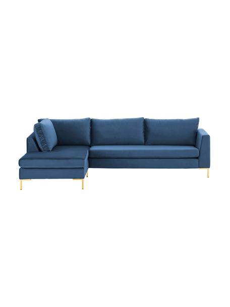 Fluwelen hoekbank Luna in blauw met metalen poten, Bekleding: fluweel (polyester) De ho, Frame: massief beukenhout, Poten: gegalvaniseerd metaal, Fluweel blauw, goudkleurig, B 280 x D 184 cm