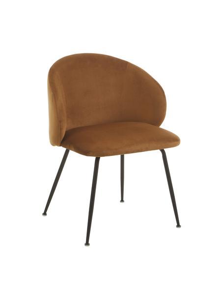 Krzesło tapicerowane z aksamitu Luisa, 2 szt., Nogi: miedziany, Brązowy, S 59 x G 58 cm