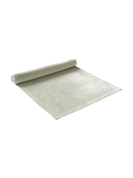 Camino de mesa de terciopelo Simone, 100%terciopelo de poliéster, Verde salvia, An 40 x L 140 cm