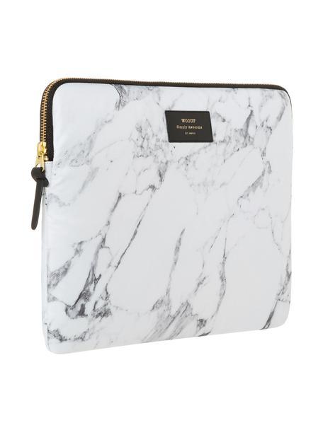 Laptophoes Marble voor MacBook Pro 13 Inch, Laptophoes: wit, gemarmerd. Opdruk: zwart met goudkleurig schrift, 34 x 25 cm
