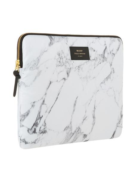 Laptophülle White Marble für MacBook Pro 13 Zoll, Laptoptasche: Weiss, marmoriert Aufdruck: Schwarz mit goldfarbener Schrift, 34 x 25 cm