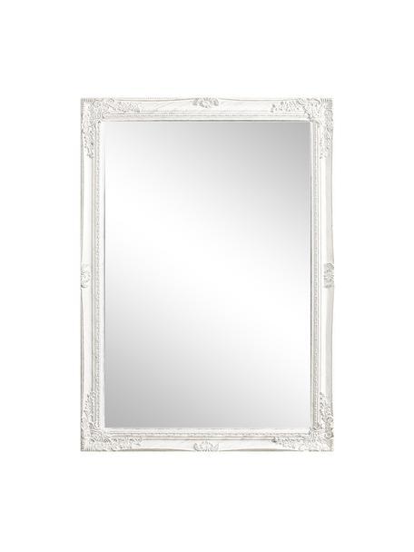 Eckiger Wandspiegel Miro mit weißem Paulowniaholzrahmen, Rahmen: Paulowniaholz, beschichte, Spiegelfläche: Spiegelglas, Weiß, 72 x 102 cm