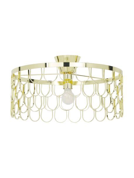 Plafondlamp Gatsby in goudkleur, Baldakijn: gelakt messing, Messingkleurig, Ø 50 x H 20 cm