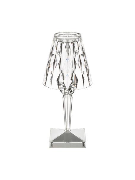 Lámpara de mesa pequeña Battery, portátil, Pantalla: plástico, Transparente, Ø 12 x Al 26 cm