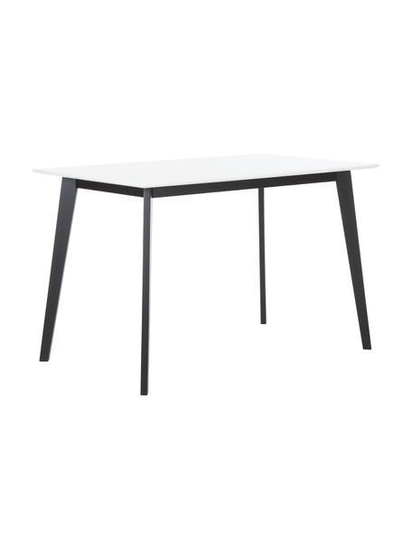 Schreibtisch Vojens mit weißer Tischplatte, Tischplatte: Mitteldichte Holzfaserpla, Beine: Gummibaumholz, Weiß, B 120 x T 70 cm
