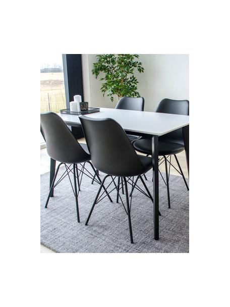 Mesa de comedor Vojens, Tablero: tablero de fibras de dens, Patas: madera de caucho, Blanco, negro, An 120 x F 70 cm