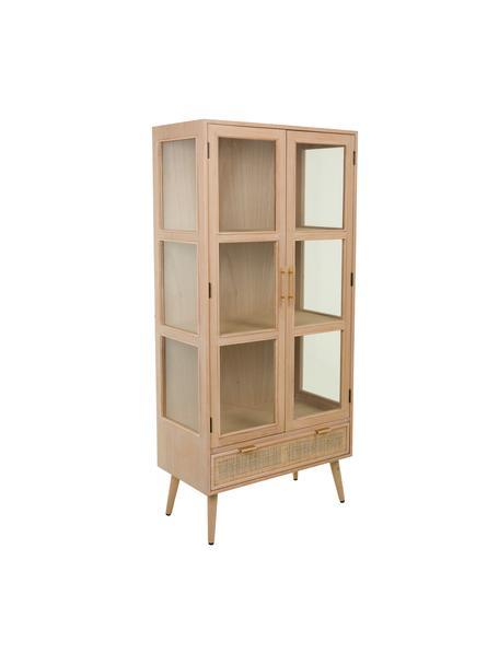 Vetrina in legno Cayetana, Piedini: legno di bambù verniciato, Marrone, Larg. 72 x Alt. 159 cm