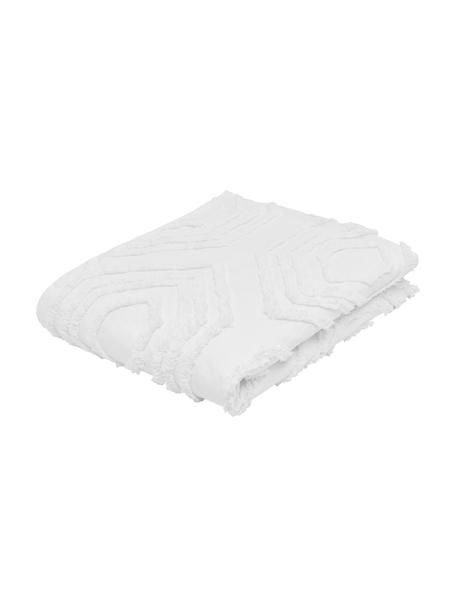 Tagesdecke Faye mit getuftetem Muster, 100% Baumwolle, Weiss, B 160 x L 200 cm (für Betten bis 140 x 200)