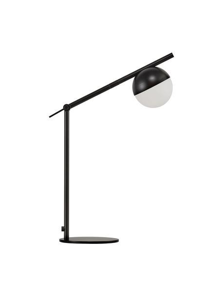 Tafellamp Contina met opaalglas, Lampenkap: opaalglas, Lampvoet: gecoat metaal, Wit, zwart, 15 x 49 cm